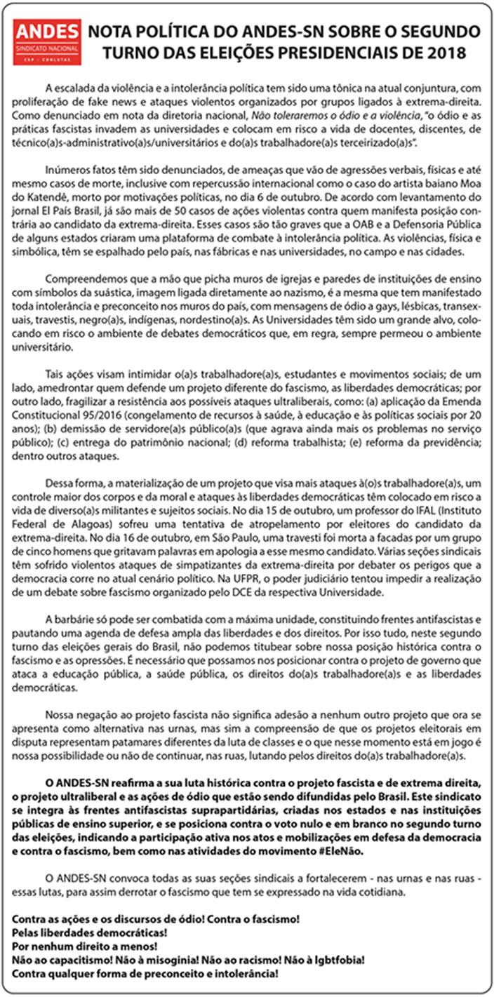 Nota política do ANDES-SN sobre o 2º turno das eleições Presidenciais de 2018